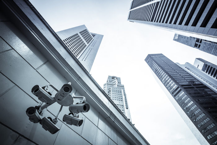 Financial district of Singapore and cctv camera